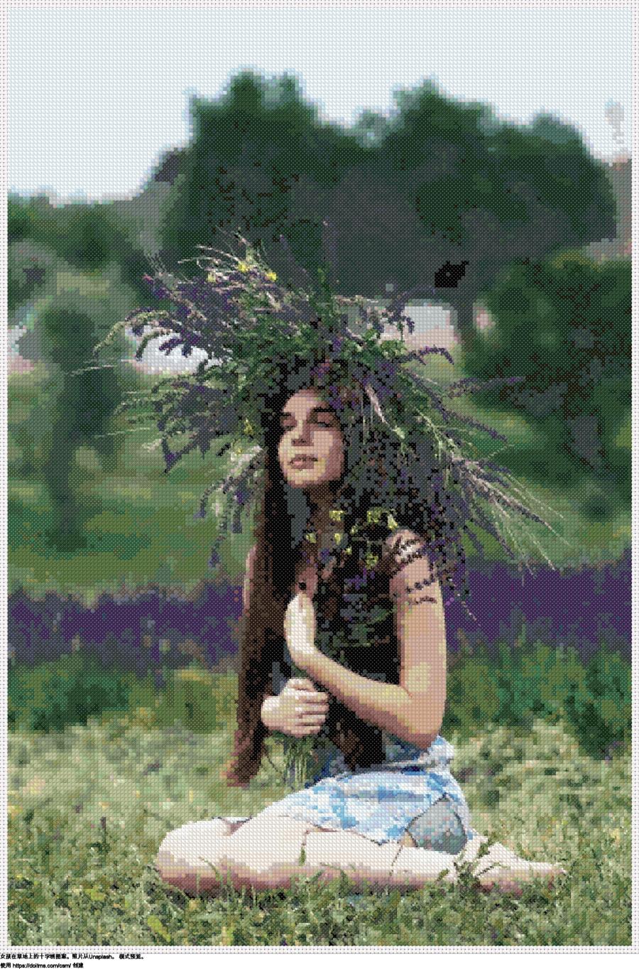 女孩在草地上