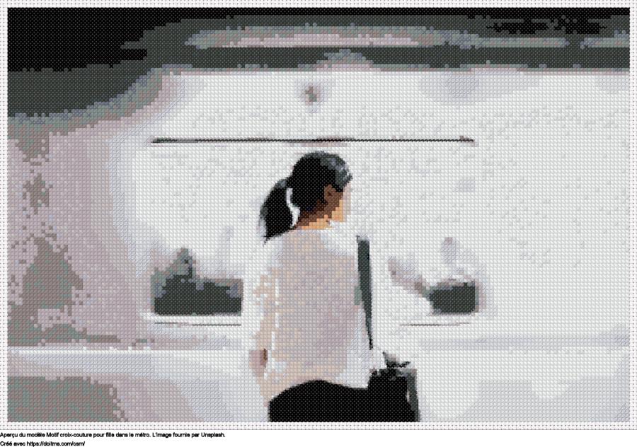 Motif de point de croix Fille dans le métro gratuit