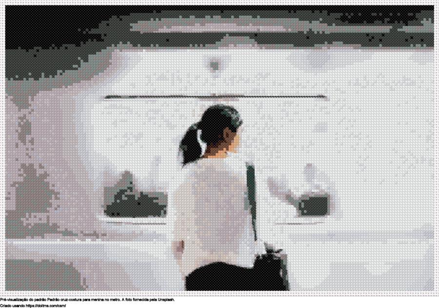 Desenhos Menina no metro de ponto-cruz gratuitos