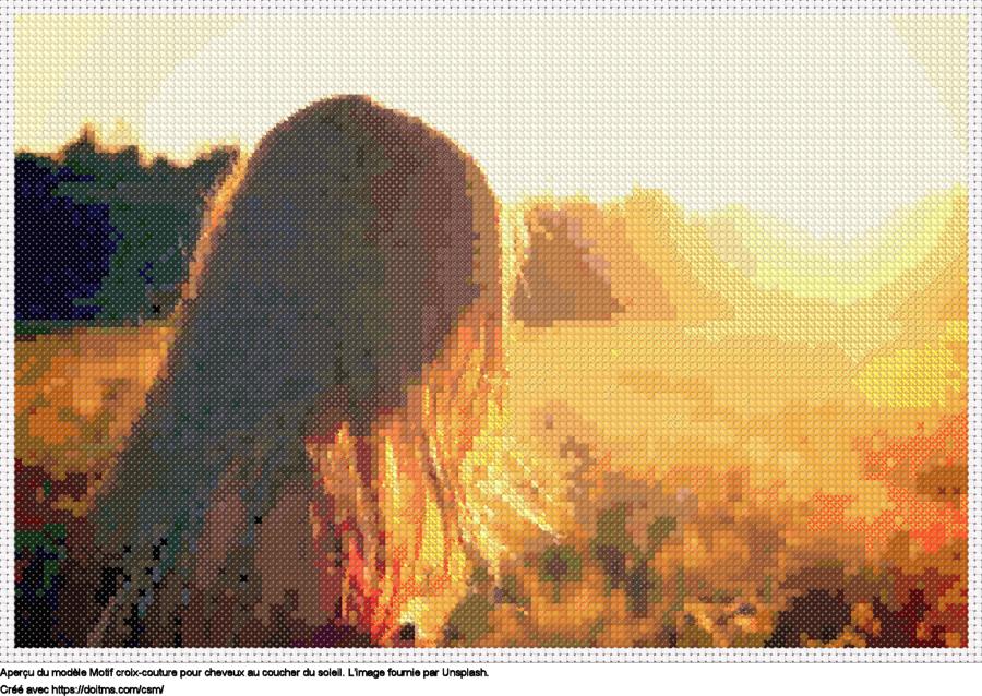 Motif de point de croix Cheveux au coucher du soleil gratuit