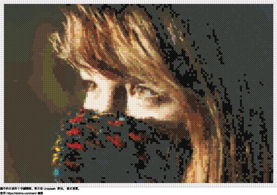 免費 圍巾的女孩 十字縫設計