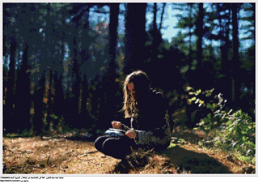 .فتاة في الغابةنمط عبر خياطة ل