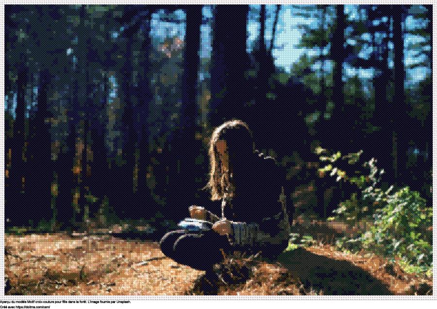 Motif de point de croix Fille dans la forêt gratuit