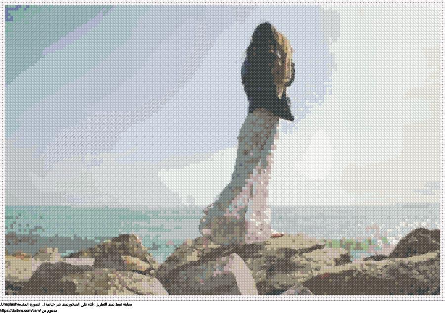 .فتاة على الصخورنمط عبر خياطة ل