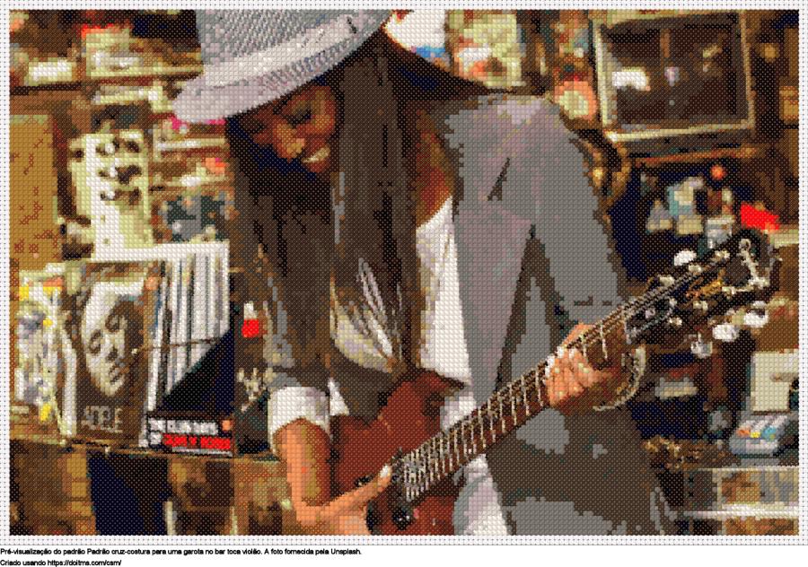 Desenhos Menina com guitarra de ponto-cruz gratuitos