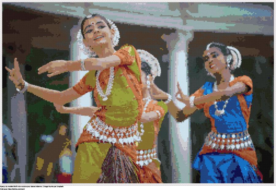Motif de point de croix danse indienne gratuit