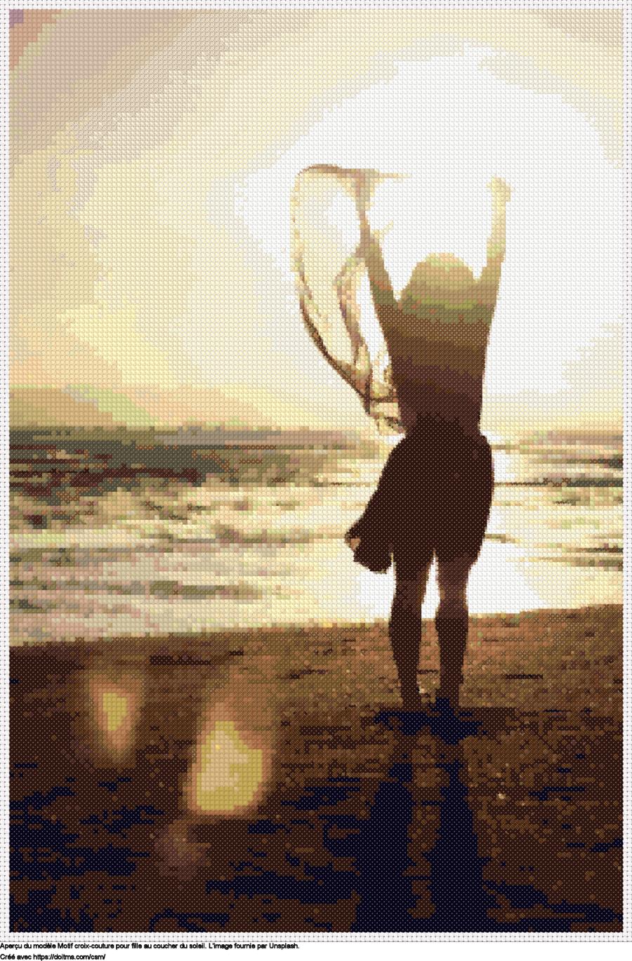 Motif de point de croix Fille au coucher du soleil gratuit
