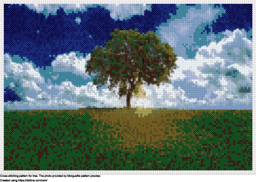Free Tree cross-stitching design