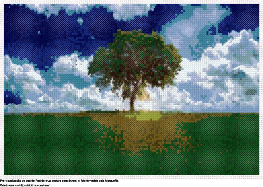 Desenhos Árvore de ponto-cruz gratuitos