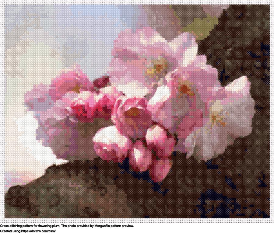 Free Flowering plum cross-stitching design