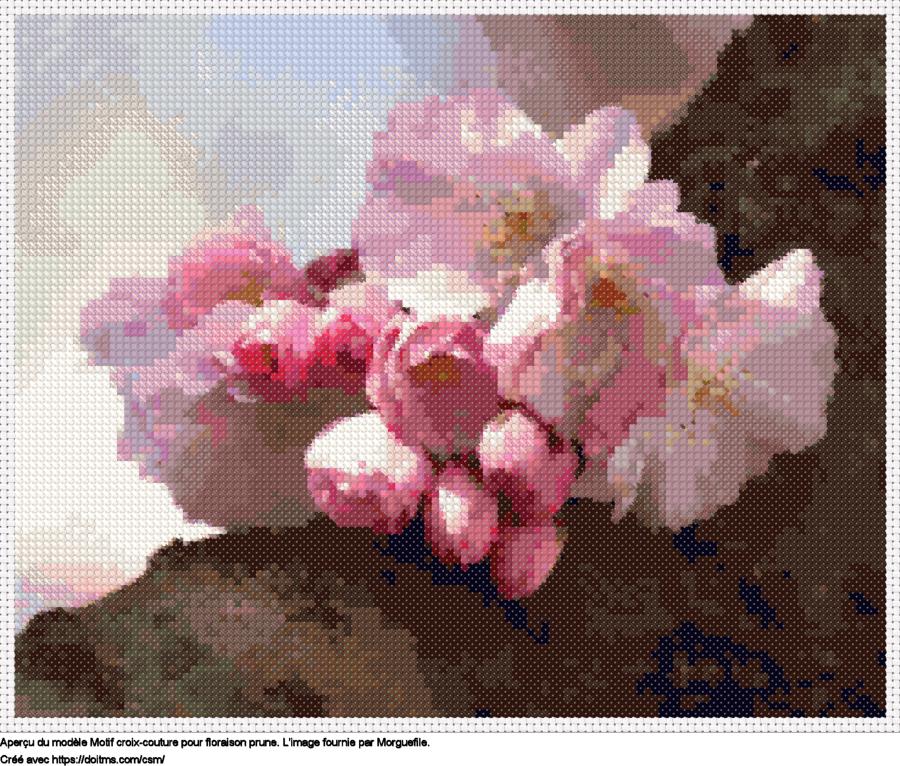 Motif de point de croix Floraison prune gratuit