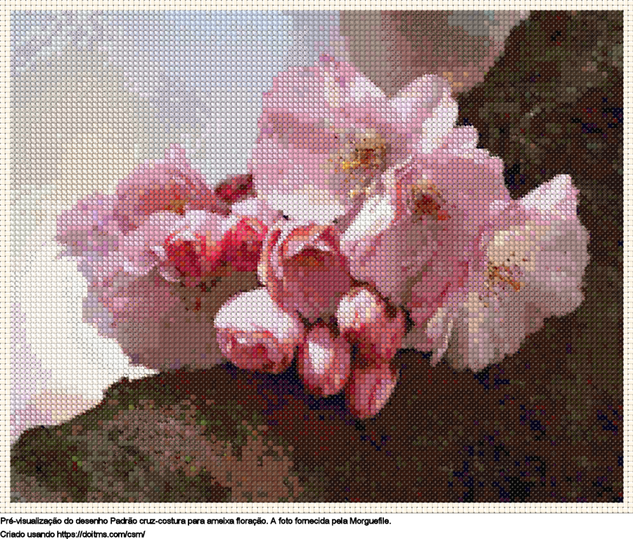 Desenhos ameixa floração de ponto-cruz gratuitos