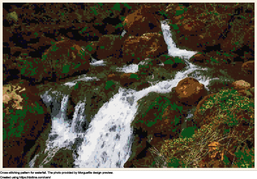 Free Waterfall cross-stitching design