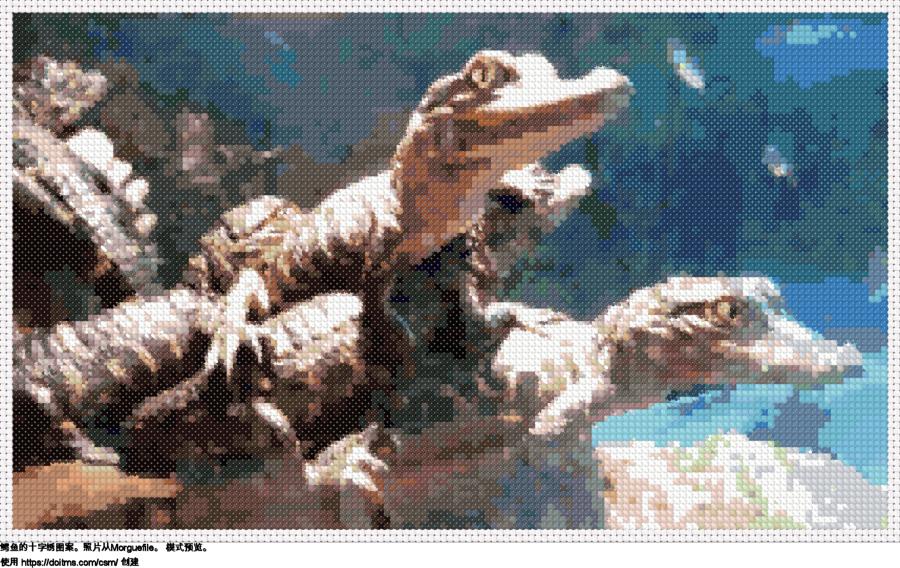 免费 鳄鱼 十字绣设计