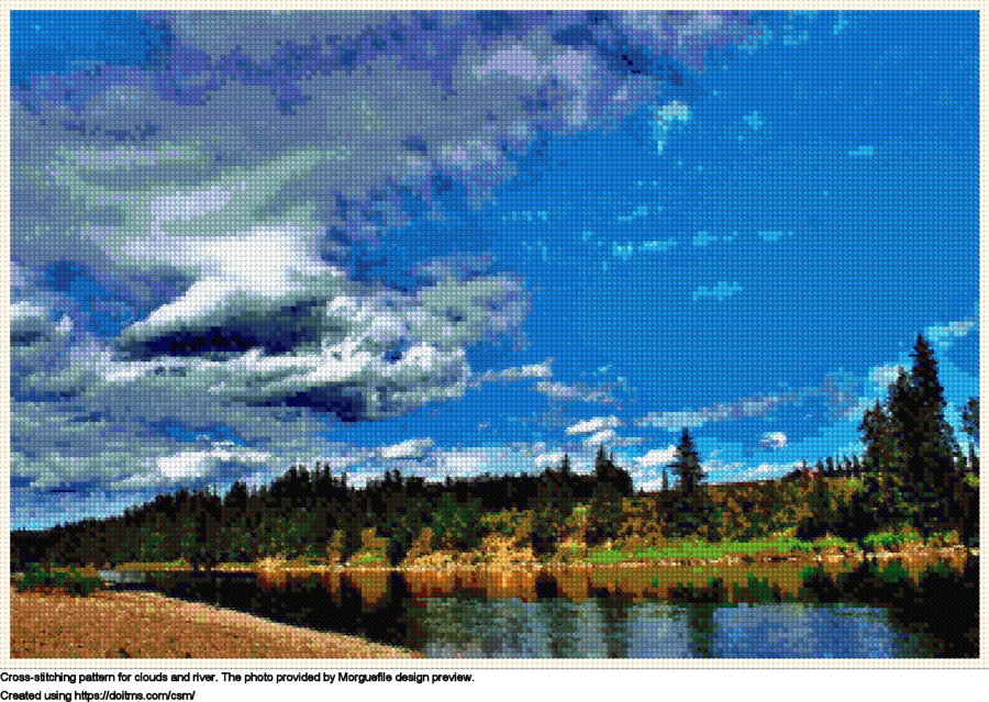 Free Clouds and river cross-stitching design