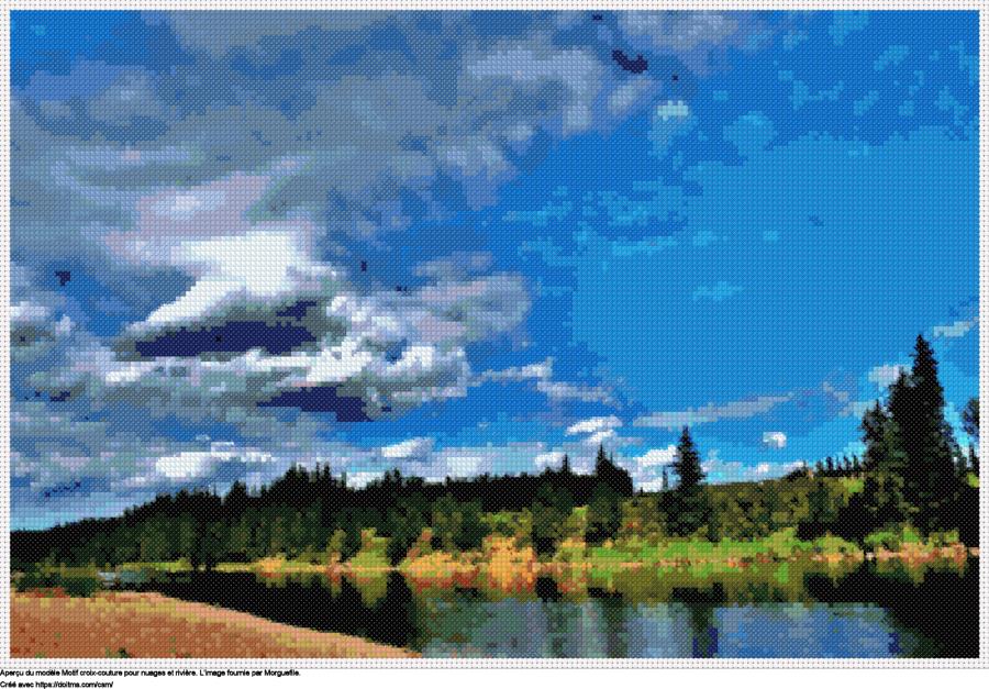 Motif de point de croix Nuages et rivière gratuit
