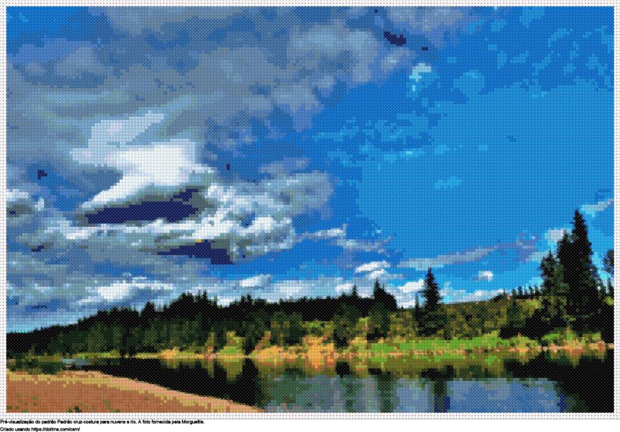 Desenhos Nuvens e rio de ponto-cruz gratuitos