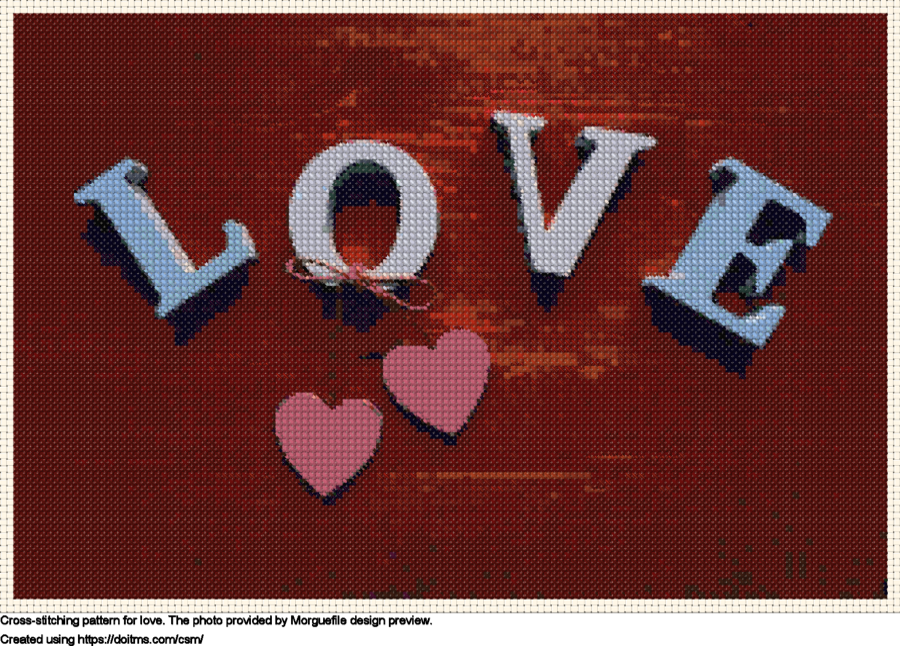 Free Love cross-stitching design