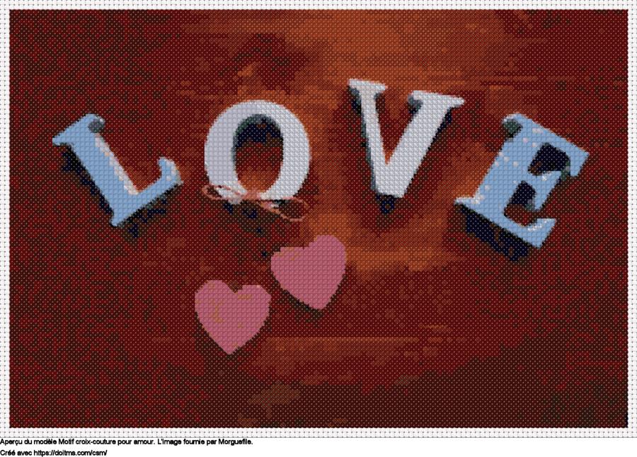 Motif de point de croix Amour gratuit