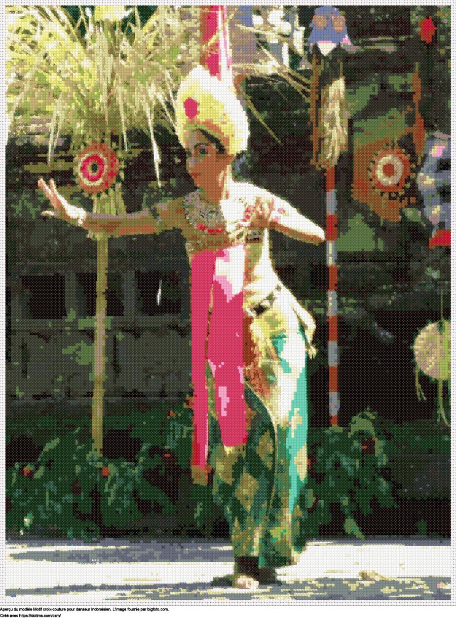 Motif de point de croix Bali gratuit