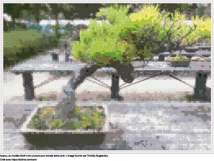 Motif de point de croix bonsaï arbre Pine gratuit