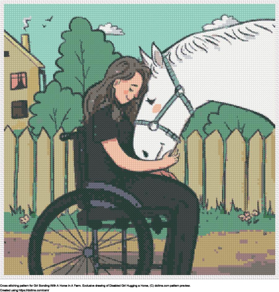 Brave Girl Hugging A Horse