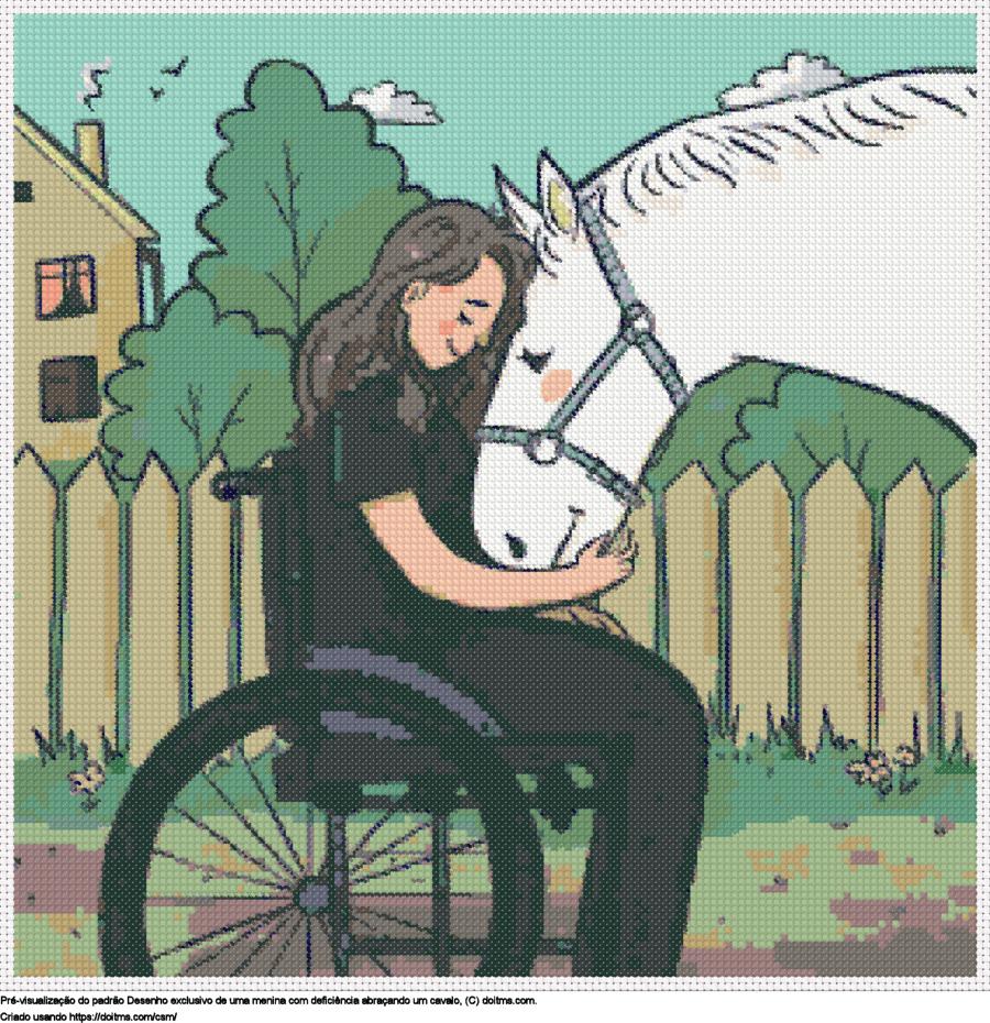 Desenhos Desenho de uma menina corajosa de ponto-cruz gratuitos